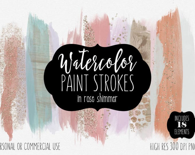 ROSE GOLD BRUSH Strokes Clip Art Commercial Use Clipart Watercolor Paint Blog Headers Copper Blush Pink Confetti Watercolour Logo Graphic
