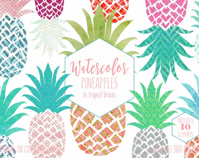WATERCOLOR PINEAPPLE Clipart Commercial Use Clip art Fun Tropical Clipart with Gold Metallic Watercolour Pineapple Planner Sticker Graphics