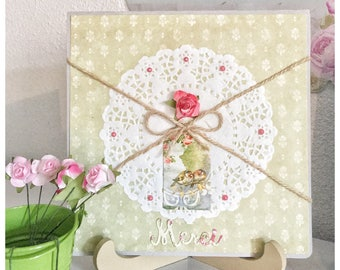Thank you card gift flowers pink green