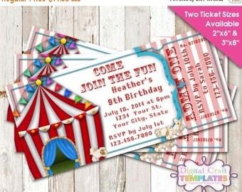 SALE Birthday Invitation, Personalized Birthday Circus, Printable Birthday Party, Ticket, #469