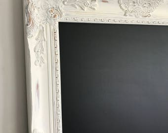 White Distressed Chalkboard, Chalkboard, Magnetic Chalkboard, Wedding Sign, Kitchen List, Office Chalkboard