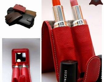 Bella Leather Double Lipstick Case Holder with Mirror