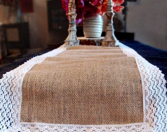 "Natural Burlap Jute & WHITE Lace Table Runner - 12 1/2"" X 108"""