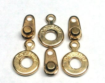 Ball and Socket 6MM Clasp, Gold Plated, qty 3