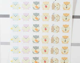 Kawaii Hamsters Planner Stickers (NF602) High Gloss, Semi-Gloss, Matte Planner Stickers