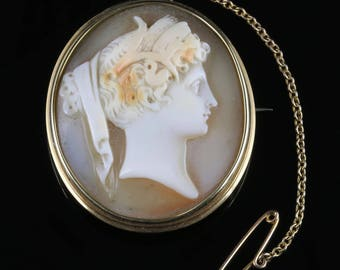 Antique Victorian Cameo Gold Brooch Circa 1860