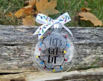 Let's get Lit Christmas lights ornament, Let's get Lit ornament, Let's get Lit polka dot ornament, funny Christmas ornament