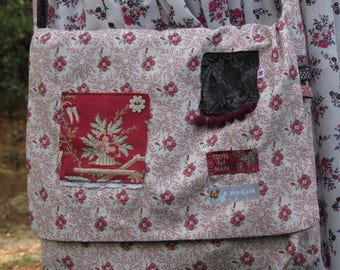 Flower fabric shoulder bag