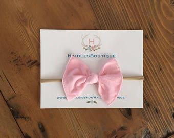 Pink Nylon Bow, nylon baby headband, one size fits all, White Bow, Cream Bow