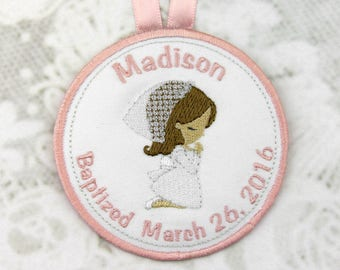 Personalized Praying Girl Baptism Ornament // Personalized Ornament