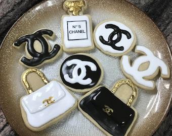 20 Black, Gold and White Designer Sugar Cookies