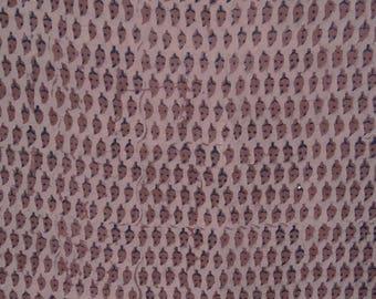 "Dressmaking Craft Fabric, Hand Block Print, Mauve Fabric, Handmade, Quilt Fabric, 47"" Inch Cotton Fabric By The Yard ZBC8161C"