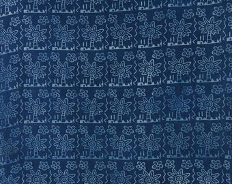 "Ethnic Fabric, Sewing Material, Navy Blue Fabric, Floral Print Fabric, 45"" Inch Cotton Fabric By The Yard ZBC9032A"
