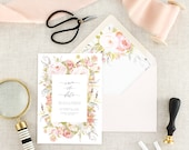 Floral Save the Date Cards - Save the Dates Printed - Modern Save the Dates - Floral Wedding Announcement - Pink Save the Dates - Set of 10
