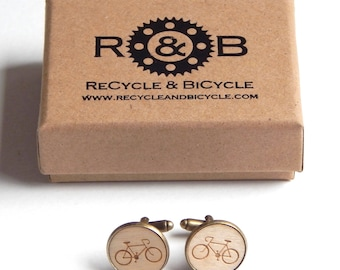 Wooden Bike Bicycle Cycling Cufflinks Cuff Links Cycling Gift