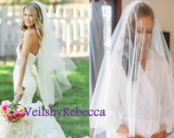 Ready to Ship Veils,2 tiers fingertip tulle veil, blush tulle veils, simple blusher tulle veil, tulle wedding veils, tulle bridal veils V603