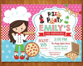 Pizza Birthday Invitation. Pizza Party invitation. Girl or Boy Pizza Birthday Party Invite. Pizza Making. Italian Pizza. Printable Digital.