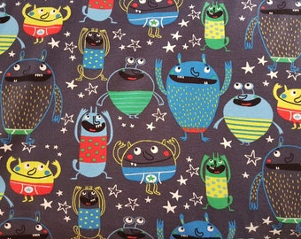 Alien Monsters - Navy, Cotton Lycra Jersey Knit Fabric
