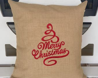 16 x16 Burlap Merry Christmas pillow cover with envelope opening in back