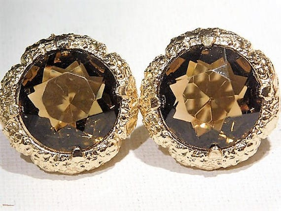 Mid Century Rhinestone Clip On Earrings Faceted Glass Rhinestone Bezel Set Button Style Earrings 1950s 50s Fashion Jewelry Pat 2733491