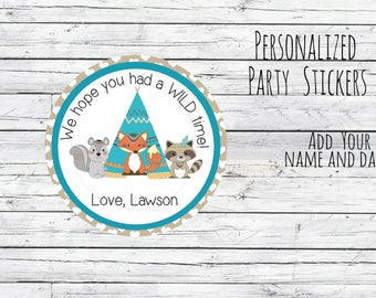 Personalized Wild One Stickers, Birthday Labels, Tribal Stickers, Wild OneThank You Labels, 1st Birthday, Goodie Bag Labels