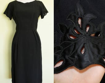 1960s Dress- Black Black- Embroidered Floral Sleeves
