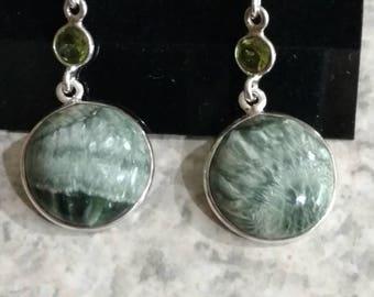 Seraphinite and Peridot Charm  Earrings