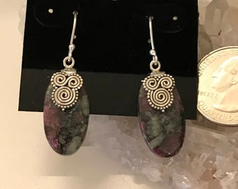 Ruby in Zoisite Abstract Earrings