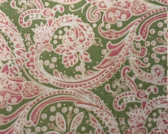 Pink and White Paisley on Green Background, 100% Cotton