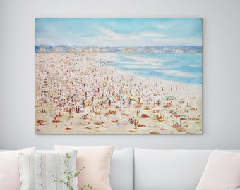 "Large Original Oil Painting, Seascape painting, Ocean painting, Blue, Beach scene, Wall Art, Canvas Art, Abstract, Summer Sunny 39"" X 53"""