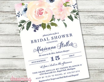 Floral Pink Roses with Navy Bridal Shower Invitation