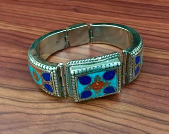 Ethnic  Lapis Lazuli  Coral Turquoise Cuff Bracelet