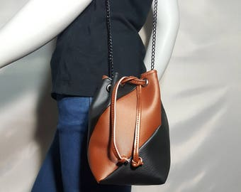 Brown and Copper mini bucket bag