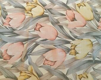 "Vtg HIROKO SILK SCARF For Dozo Designer Tulip Floral silk scarf 35"" x 35"" Hand Rolled hem Light pastel Peach Yellow cream Silver Gray Taupe"