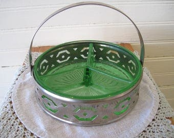 Uranium Glass Relish Dish with Metal Holder - Item #1487