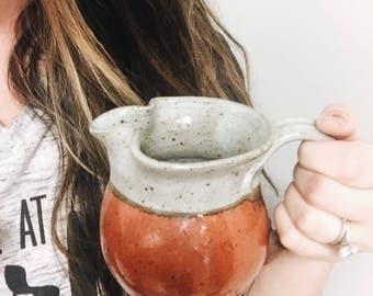 Vintage Handmade Pottery Pitcher / Pottery Creamer / Studio Pottery Pitcher / Red Pitcher / Small Pottery Pitcher / Boho Kitchen Boho Decor