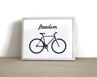 Bicycle / Freedom Biking / Printable Wall Art / Instant Download