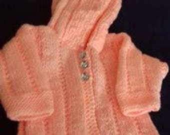 Brand new hand knitted baby girls hooded jacket