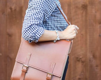 Unique Handmade Leather & Wood Satchel Bag