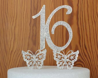 Sweet 16 Cake topper. Number 16 cake decoration in Rhinestone . Crystal butterfly cake picks snowflakes