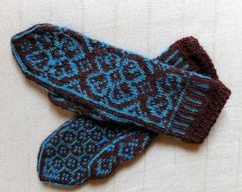 Man, woman wool alpaca, fair Isle pattern mittens