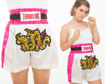 Dragon Fight / Pink Thai Boxing Shorts / Size M
