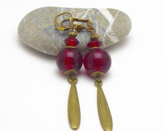 "Bronze earrings ""Irina"" Ruby colored glass beads"