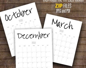 "2018 Wall Calendar, Minimalism calendars, Printable Monthly Calendar, Each File 8"" x 10"" ~ C100"