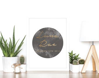 Watercolor Moon Personalized Baby Birth Announcement - Rose Gold Foil - Baby Gift - Baby Shower Gift - Baby Keepsake