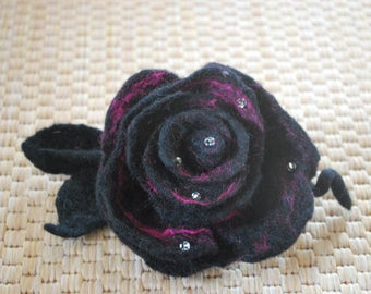Handmade felted wool flower brooch/Corsage!ROSE!