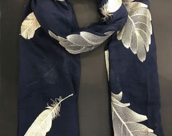 Hand Embroidered Scarf-NAVY  BLUE colour/ FEATHERS/Leaves print/Autumn Scarf / Women Scarves / Gifts For Her / Accessories / Handmade