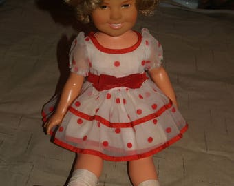 1972 Ideal Shirley Temple Doll in Red and White Polka Dot Dress