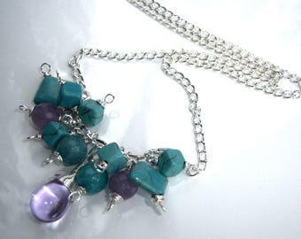 Fancy turquoise and lavender jade necklace