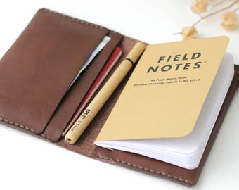 Leather field notes cover Leather passport wallet field notes Leather notebook passport holder Leather field notes wallet  Free gift